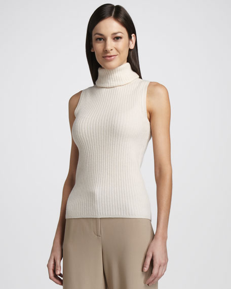 Sleeveless Cashmere Turtleneck Top