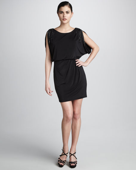 Beaded-Sleeve Blouson Dress
