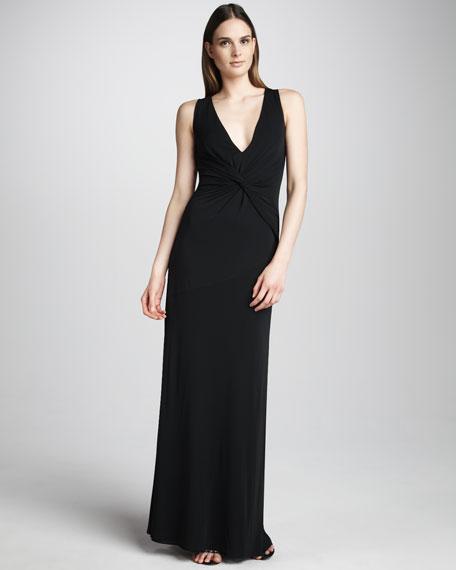 Twist-Front Jersey Gown, Black