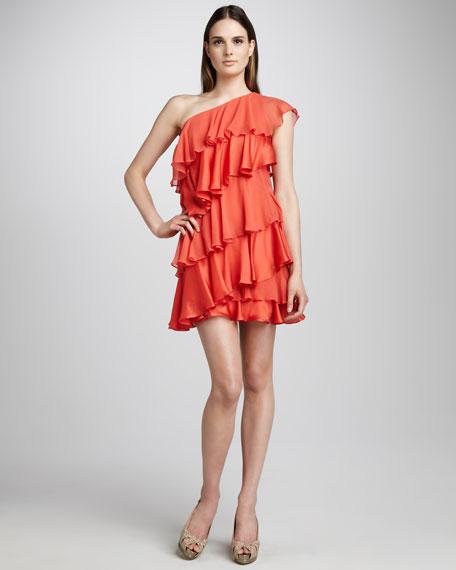 Tiered Ruffle Dress, Tangelo
