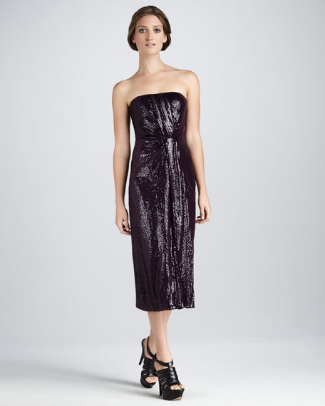 Piaza Cuvet Sequined Strapless Midi Dress