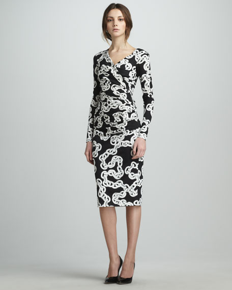 Bentley Long-Sleeve Chain-Print Dress
