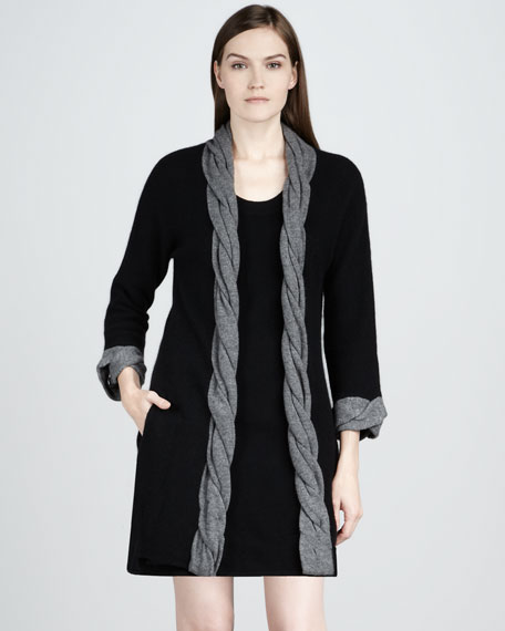 Cashmere Braided Trim Cardigan