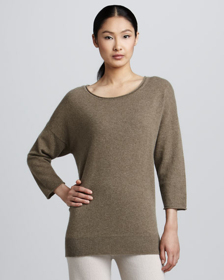 Roll-Edge Cashmere Top