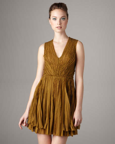 V-Neck Chiffon Pleated Dress