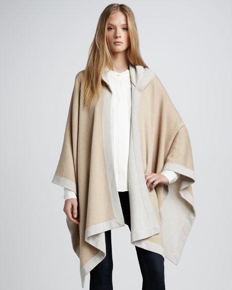Two-Tone Hooded Poncho