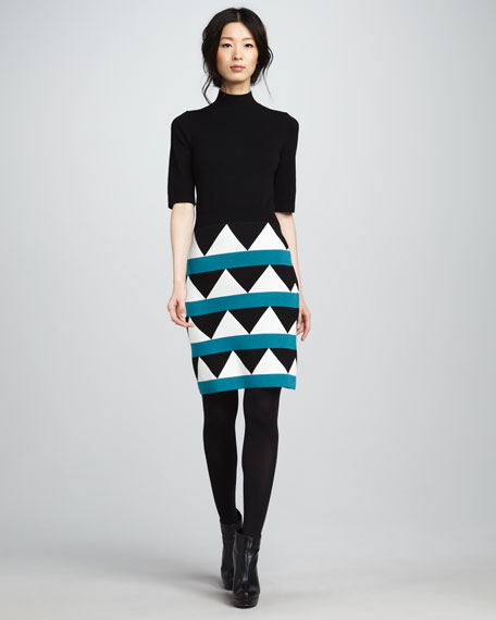 Pattern-Skirt Turtleneck Dress