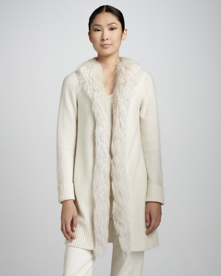 Exclusive Cardigan with Fur Collar
