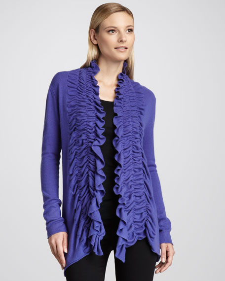Pucker-Front Cashmere Cardigan