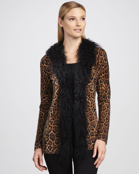 Leopard Fur-Trim Cashmere Cardigan