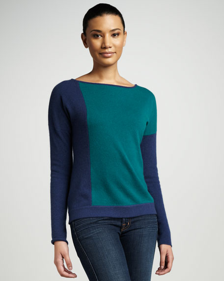 Colorblock Boat-Neck Sweater