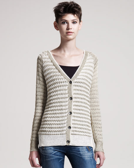 Laura Striped Metallic Cardigan