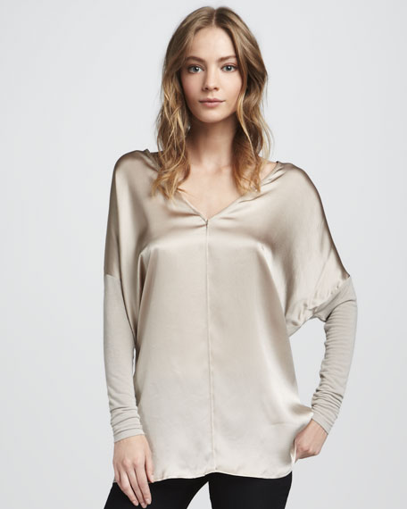 Mix-Fabric Top, Bisque