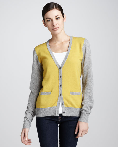 Two-Toned Cashmere Cardigan
