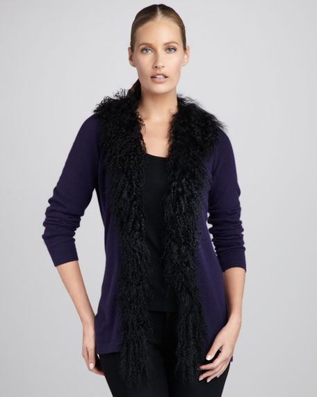 Fur-Trim Cashmere Cardigan