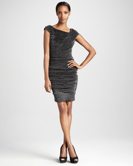 Cap-Sleeve Metallic Knit Cocktail Dress