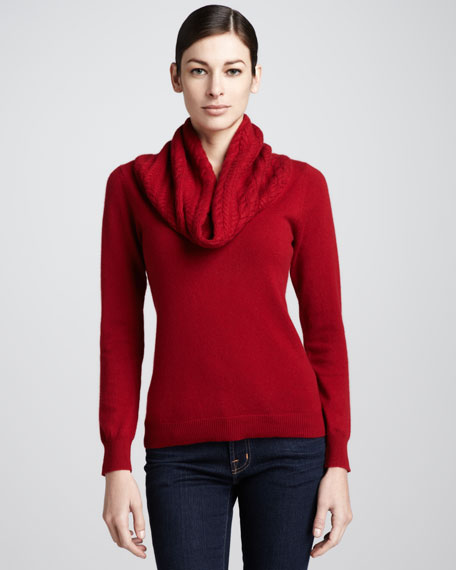 Cable-Cowl-Neck Cashmere Sweater