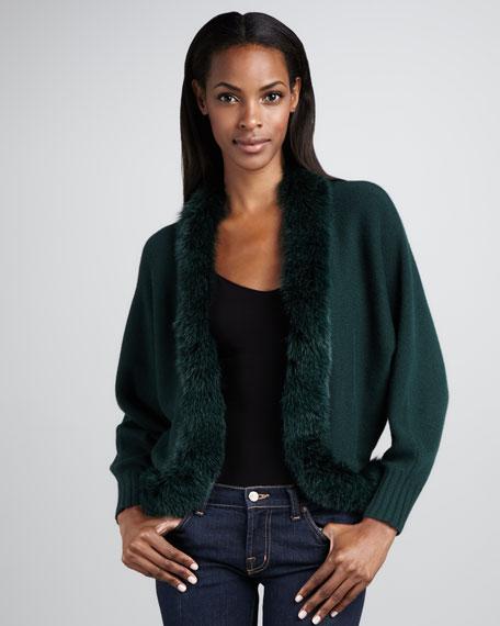 Fur-Trim Cashmere Cardigan