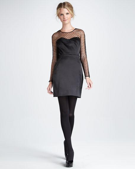 Illusion-Sleeve Satin Sheath Dress