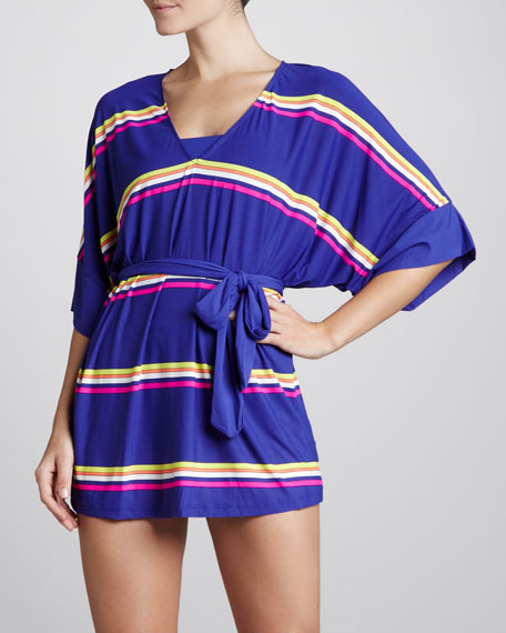 Miss Divine V-Neck Striped Coverup, Cobalt