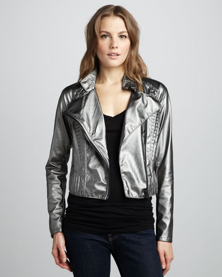 Metallic Faux-Leather Jacket