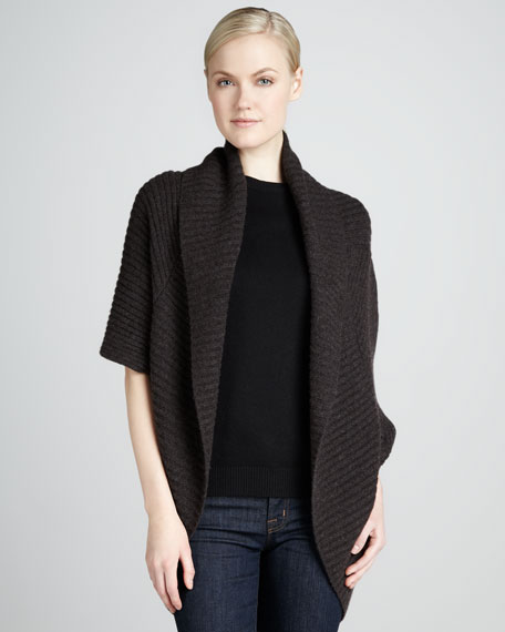 Cable-Rib Open Cashmere Cardigan