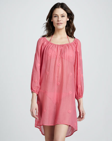 Hawaiian Valentine Embroidered Coverup