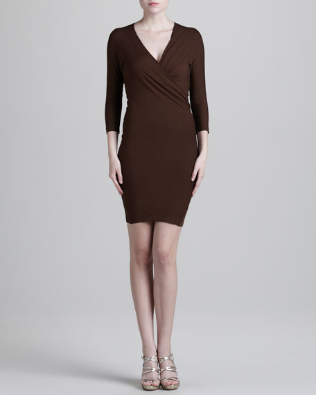 Fitted Faux-Wrap Dress
