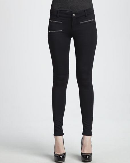 Black Ponte Zip Pant
