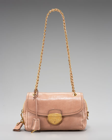 Glace Calf Push-Lock Chain Shoulder Bag