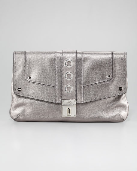 Harper Metallic Clutch Bag, Gunmetal