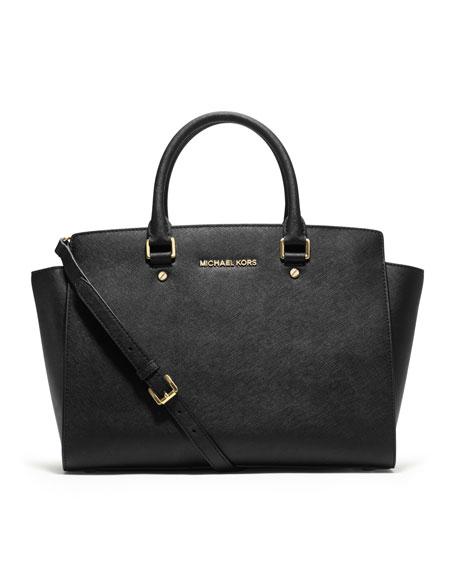 MICHAEL Michael Kors Selma Large Top-Zip Satchel Bag, Black