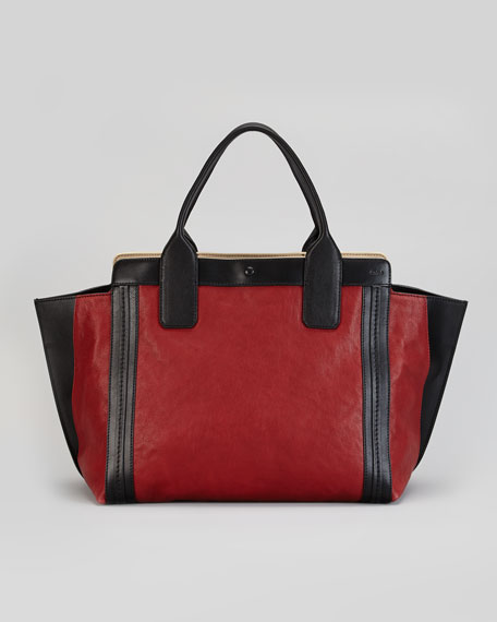 Alison Small Tote Bag, Red/Black