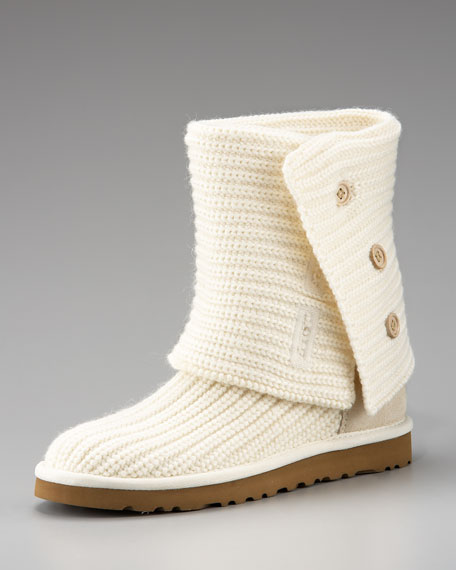 Cardy Crochet Button Boot, White Sand