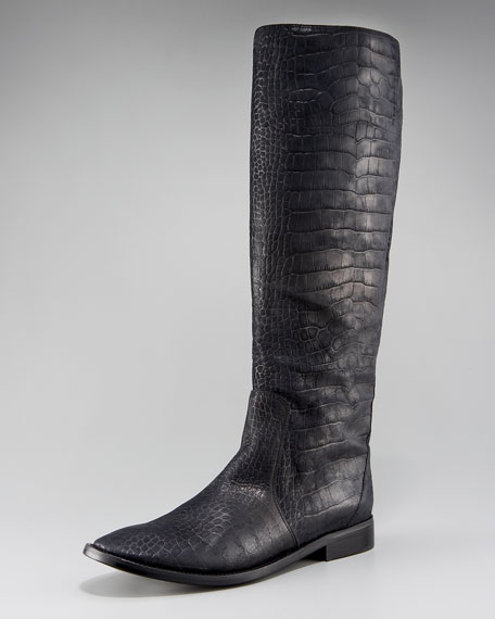 Pull-On Croc-Embossed Riding Boot