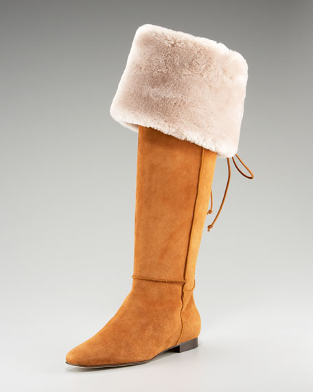 Shearling-Lined Flat Boot