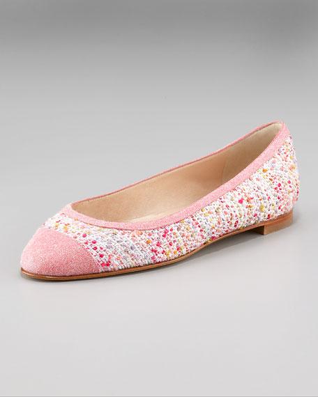 Manolo Blahnik Glitter-Toe Boucle Ballerina
