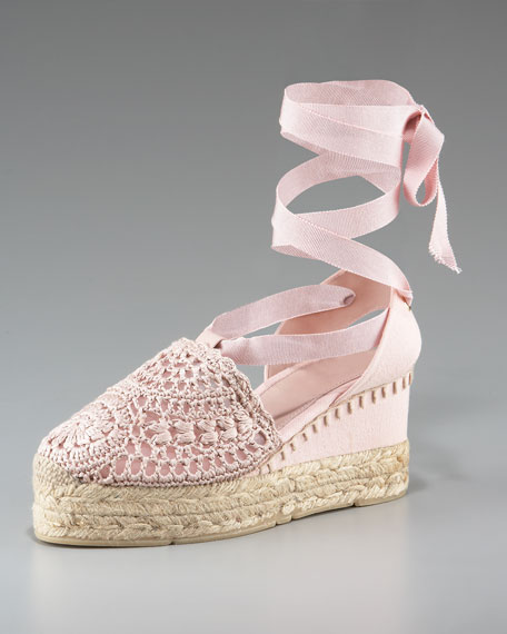 Umika Crocheted Ankle-Wrap Espadrille