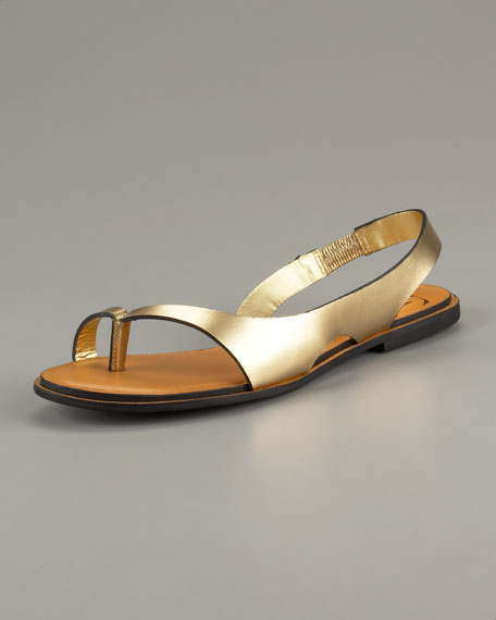 Kaiti Metallic Slingback Thong Sandal