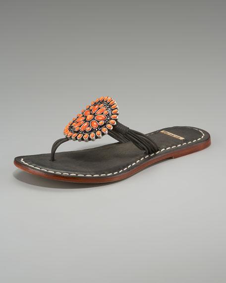Mosaic Beaded-Circle Thong Sandal