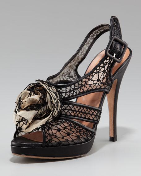 Valentino Dangerose Mesh Rosette Sandal
