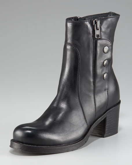 Alberto Fermani SIDE ZIP SNAP ANKLE BOOT