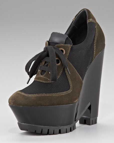 Burberry Lace-Up Wedge Bootie