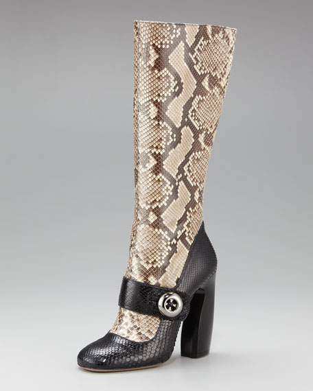 Bi-Color Python Mary Jane Boot