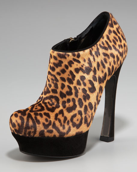 Leopard-Print Calf Hair Bootie