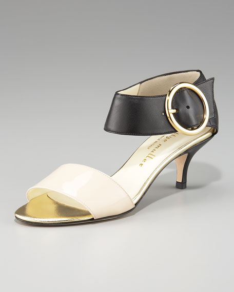 Colorblock Leather Sandal, Black/Nude