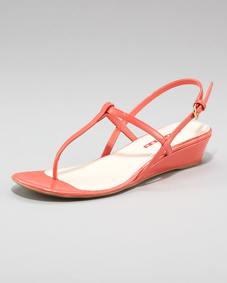 Exclusive Patent Slingback Wedge Sandal