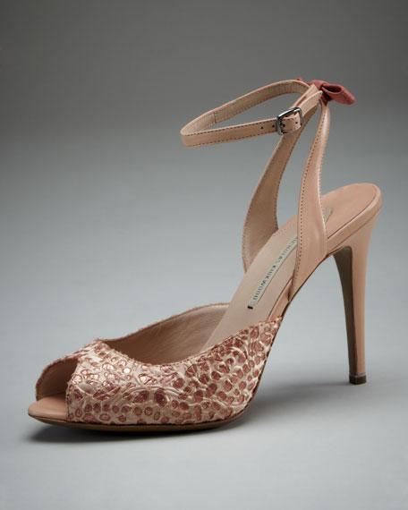 Satin-Overlay Ankle-Wrap Sandal