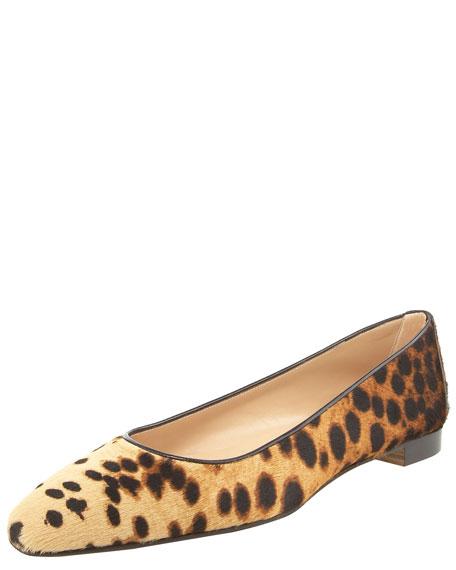 Leopard-Print Calf-Hair Skimmer