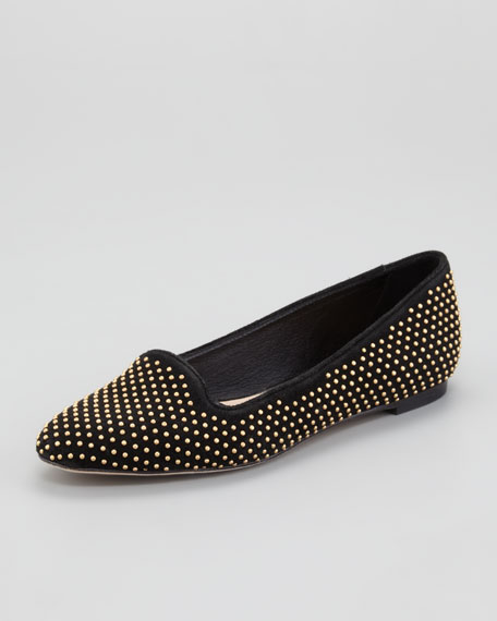 Studded Suede Smoking Slipper